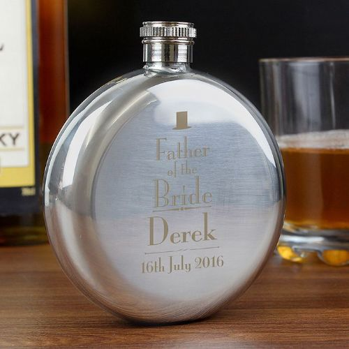 Personalised Decorative Wedding Father of the Groom Round Hip Flask